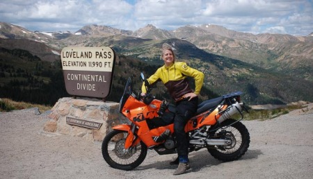 Me at the Continental Divide - police came moments later to tell me to get on the road.