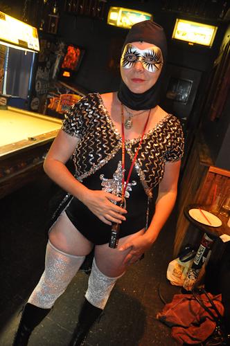 Pat Mazerra made her way down from the Folsom Street Fair.