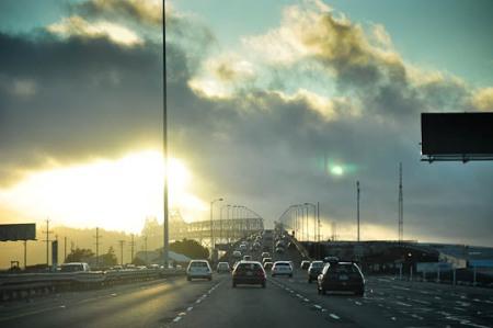 Magical light on the Bay Bridge.