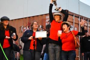 blurry but happy - Kerri, Tegan, Jen and Kathy (is it Kathy?) win Peoples Choice.